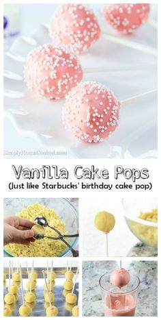 """Vanilla cake pops that taste just like Starbucks' famous """"birthday cake pop"""". They're so much cheaper too! You'll never have to buy them again."""