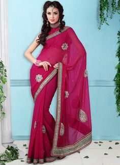 #Pink Colored Border Work #Saree
