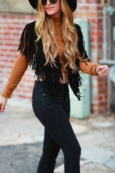 fringe suede vest, 70s inspired outfit