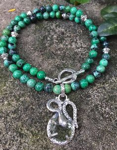 Chrysotine (Grass Turquoise) Necklace with Sterling Silver Snake set with a rough Green Amethyst. http://www.ebay.com.au/itm/-/322555253163