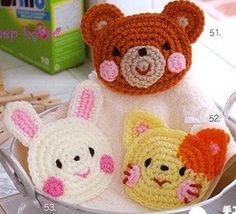 Crochet and arts: Caritas en crochet Crochet Home, Knit Or Crochet, Cute Crochet, Crochet Motif, Crochet For Kids, Crochet Baby, Applique Patterns, Amigurumi Patterns, Beanie Babies