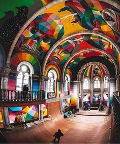 . So amazing art + architecture . via @ratedmodernmedia  . Historic church in #asturias converted into an indoor skate park by @okudart . #art #architecture #decor #interior #colors #geometric