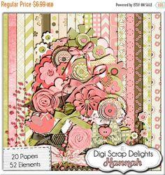 50% OFF TODAY Hannah Mega Digital Scrapbook Kit (Coral Pink, Green, Brown), Instant Download  #Scrapbooking #DigiScrapDelights #babygirl #scrapbookingkits #pink