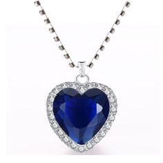 Titanic Heart of The Ocean pendant Necklace + velvet bag - Royal Blue / 45cm