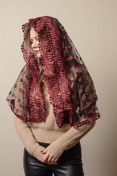Mantilla Veil, Lace Veils, Catholic Veil, Chapel Veil, Lace Scarf, Lace Embroidery, Beautiful Hijab, French Lace, Burgundy