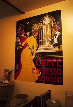 Title: French Caffe Espresso House  I took this photo while having a cup of coffee at a coffee house in Ojai California.   My photographs have been featured in over 36 Fine Art America groups  Website: http://jerry-cowart.artistwebsites.com/  Email: jcdeziner@aol.com  http://fineartamerica.com/featured/cafe-fresco-espresso-coffee-house-wall-poster-fine-art-photography-print-jerry-cowart.html?newartwork=true