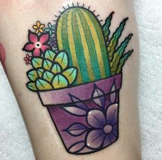 Cactus tattoo by Kelly McGrath - Modern Cactus tattoo by Kelly McGrath