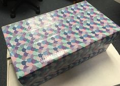 """Cardboard shoebox covered with """"Duck Tape."""" Picnic Blanket, Outdoor Blanket, Shoebox Ideas, Operation Christmas Child, Duck Tape, Shoe Box, Butcher Block Cutting Board, Kids Christmas, Charity"""
