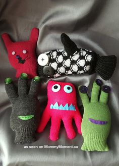 A Friendly Monster Mittens Craft. Whether you call them Mitten Monsters, Glove Buddies or even Monster Stuffies, they are a fun, easy craft for kids! idea the world training craft craft diy craft for kids craft no sew craft to sale Sock Crafts, Cute Crafts, Fabric Crafts, Sewing Crafts, Sewing Projects, Animal Sewing Patterns, Stuffed Animal Patterns, Doll Patterns, Knitting Patterns