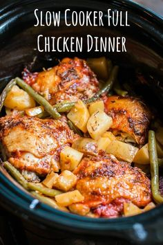 This Slow Cooker Full Chicken Dinner has tender chicken thighs, Yukon gold potatoes and green beans in a savory herb sauce. in chicken recipes Slow Cooker Full Chicken Dinner Slow Cooker Full Chicken, Crock Pot Slow Cooker, Crock Pot Cooking, Chicken Cooker, Cooking Oil, Slow Cooker Meals Healthy, Slow Cooker Dinners, Cooking Steak, Diabetic Slow Cooker Recipes