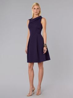 David Meister Folded Neckline Sleeveless Dress $370  Very figure flattering