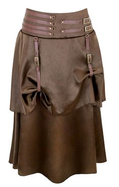 Steampunk Women Brown Satin Skirts With Leather Buckle 2 Layers