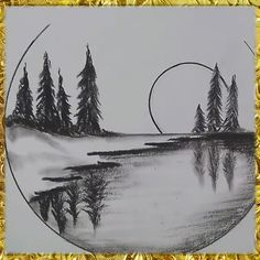Hello everyone! Today I prepared an interesting pin for you. Here youll find a step by step manual that not so difficult to repeat! Art Drawings Beautiful, Art Drawings Sketches Simple, Easy Drawings, Landscape Pencil Drawings, Pencil Art Drawings, Nature Sketches Pencil, Charcoal Drawings, Pencil Drawings For Beginners, Nature Drawing