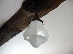 Pendant Light, Art Deco Lighting, Opaline Glass, Milk Glass Lamp, Large Opaline Light, Milk Glass Porch Light, Hanging Lantern Ceiling Light