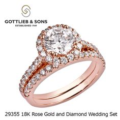 Think #pink and just #SayYes to this 14K #Rose Gold #Diamond wedding ring set from #GottliebandSons. This stunning pink wedding set has a halo of diamonds set in rose gold. Love this ring? Visit your local #GottliebandSons retailer and ask for style number 29355.