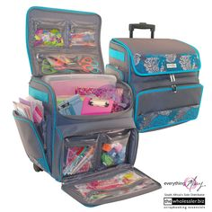 These travelling craft carriers are adorable. Diy Back To School Supplies, Travel Crafts, Art Cart, Embroidery Tools, Art Storage, Craft Supplies, Planner Supplies, Easy Diy Crafts, Craft Organization