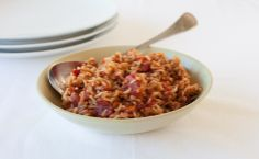 Epicure's Jambalaya Rice: Brown rice boosts daily fibre content – important for heart health and weight maintenance. Make extra and freeze for an easy anytime meal. Vegetarian Brunch Recipes, Vegetarian Lunch, Dinner Party Recipes, Lunch Box Recipes, Dinner Ideas, Jamaican Cuisine, Jamaican Recipes, Side Dishes Easy, Side Dish Recipes