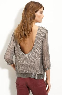 Parker Sequin Open Back Blouse. I actually may NEED to have this.