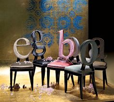 chairs with letters as backs from Ego Zeroventiquattro http://www.egozeroventiquattro.it/ #typography #fonts #furniture #design