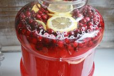 Festive Holiday Punch. I used a can of cranberry concentrate and a can of frozen raspberry lemonade concentrate.