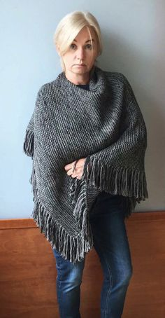 Hand Knit Wool Poncho Knit wool poncho with fringes Grey poncho