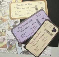Disney Themed Save the Date Invite Boarding Pass.etsy this makes it hard to pick.the book the date bookmark or the tickets into disney! Perfect Wedding, Our Wedding, Dream Wedding, Camo Wedding, Wedding Stationary, Wedding Invitations, Birthday Invitations, Disney Inspired Wedding, Disney Weddings