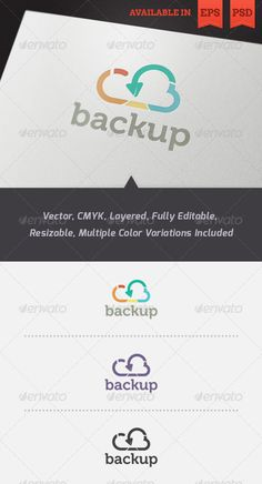 Cloud Backup Logo Template — Photoshop PSD #vector #corporate • Available here → https://graphicriver.net/item/cloud-backup-logo-template/3488795?ref=pxcr