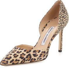 Manolo Blahnik Taylerbi Suede d'Orsay Pump, Leopard