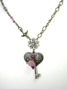 Vintage Style Necklace Pink Heart and Key by jewelrybyNaLa on Etsy, $28.75
