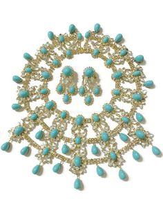 Vintage Kenneth Jay Lane Massive Turquoise Jewelled Necklace and Earrings Set #KennethJayLane
