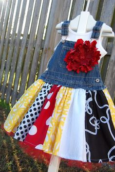 Recycle too short overalls into an adorable dress...LOVE this idea...CHECK!