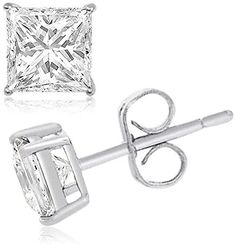 TIONEER Sterling Silver Cubic Zirconia Round-Cut Princess-Cut Solitaire Stud Earrings for Men and Women, Butterfly Push-Back, 2 mm - 10 mm