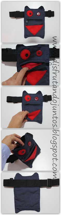 Disfrutando juntos: De regalo: una riñonera-monstruo Sewing For Kids, Baby Sewing, Serger Sewing, Hip Bag, Simple Bags, Fabric Bags, Recycled Crafts, Sewing For Beginners, Material Girls
