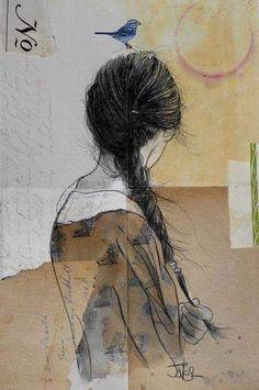 Pen & Ink drawing by artist Loui Jover Gravure Illustration, Art Et Illustration, Art Amour, L'art Du Portrait, Portraits, Arte Pop, Ink Pen Drawings, Art Design, Love Art
