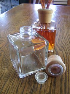 Oil reed diffuser kit,  - one complete set - DIY - 8 oz square glass bottle wood cap and reeds ready for fragrance oil
