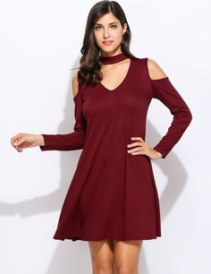 Women Long Sleeve Halter Neck Cut Out Cold Shoulder Loose Flared Tunic Dress
