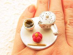 Traditional Japanese Food Ring  Green Tea by SouZouCreations, $18.50