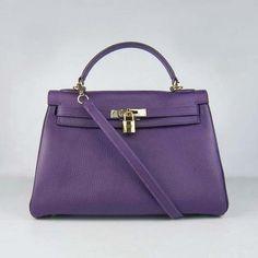 Imitation Hermes Kelly 32CM courroie d'épaule Violet Or | replica hermes kelly handbags | hermes borse