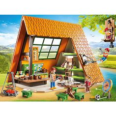 PlayMobil 9152 Take part in the perfect summer camp experience at the Camping Lodge Children / Kids Toys Games Playset for Ages 4 Yrs and above, Red Play Mobile, Rafting, Playmobil Sets, Toys R Us Canada, Communal Table, Birds Eye View, Family Camping, Toy Store, Abstract