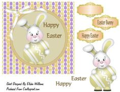 Happy Easter on Craftsuprint designed by Elisha Williams - Happy Easter is a quick card with three elements and three tags included in this pack,Happy Easter is for all your designer needs - Now available for download!