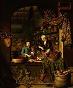 """""""A Grocer's Shop"""" (detail) 1717 -- Willem van Mieris -- Dutch -- Oil on canvas -- Mauritius House, The Hague, Netherlands."""