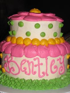 Girl birthday cake- but with pink stripes u0026 purple polka dots · Cakes Baby ... & Little girl birthday cake. | Baking | Pinterest | Girl birthday ...