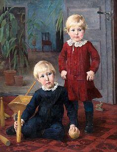Helene Schjerfbeck (Finnish, 1862 - Portrait of two children (via Bukowskis) Helene Schjerfbeck, Animal Painter, Prinz Eugen, Painting People, Naive Art, Bukowski, Second Child, Young Boys, Helsinki