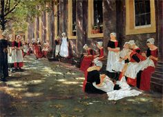 Page: Free hour at Amsterdam orphanage  Artist: Max Liebermann  Completion Date: 1876