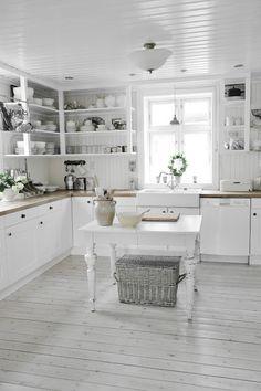 Another gorgeous white Swedish farmhouse kitchen
