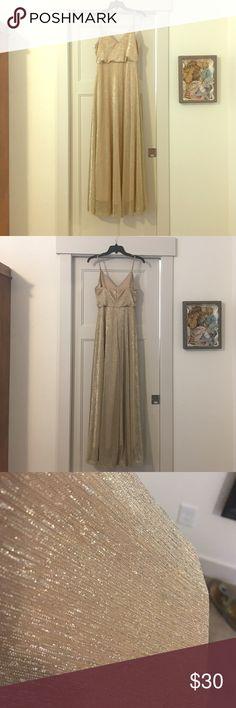 "Lulu's Blouson Shimmer Gown Adjustable spaghetti straps, zipper closure, 51"" center front length. Size medium fits size 4-6 Lulu's Dresses Wedding"