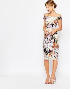 ASOS WEDDING - Robe fourreau style Bardot a fleurs avec epaules denudees - Bleu marine chez ASOS mode femme fashion