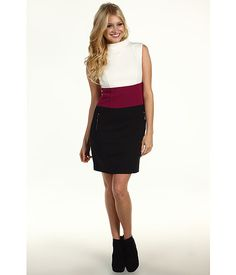 Laundry by Shelli Segal Mock Neck Color Block Dress