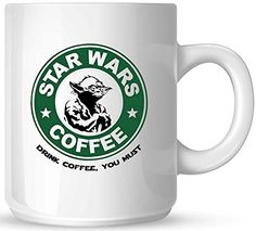 Star Wars Coffee - Yoda - Drink Coffee You Must - 11oz Ceramic Coffee Mug - White Mug - Black and Green One-Sided Print - Gloss Finish