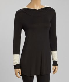 Look at this trinity Black & Ivory Lace-Sleeve Tunic on #zulily today!